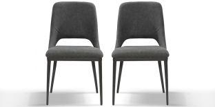 Chaise Design velours PUNE - Gris - Lot de 2