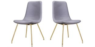 Chaise Design JAZZ - Gris/Gold - Lot de 2