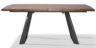 Table à manger extensible bois/laqué PUNE - Noyer/Gris
