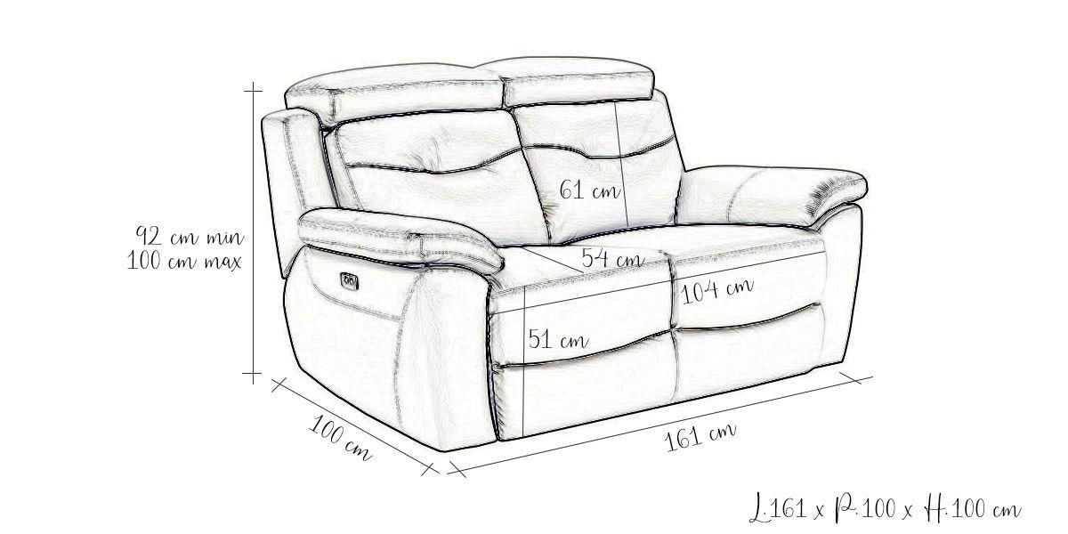 Canapé relaxation électrique 2 places en cuir SERENA - Gris perle