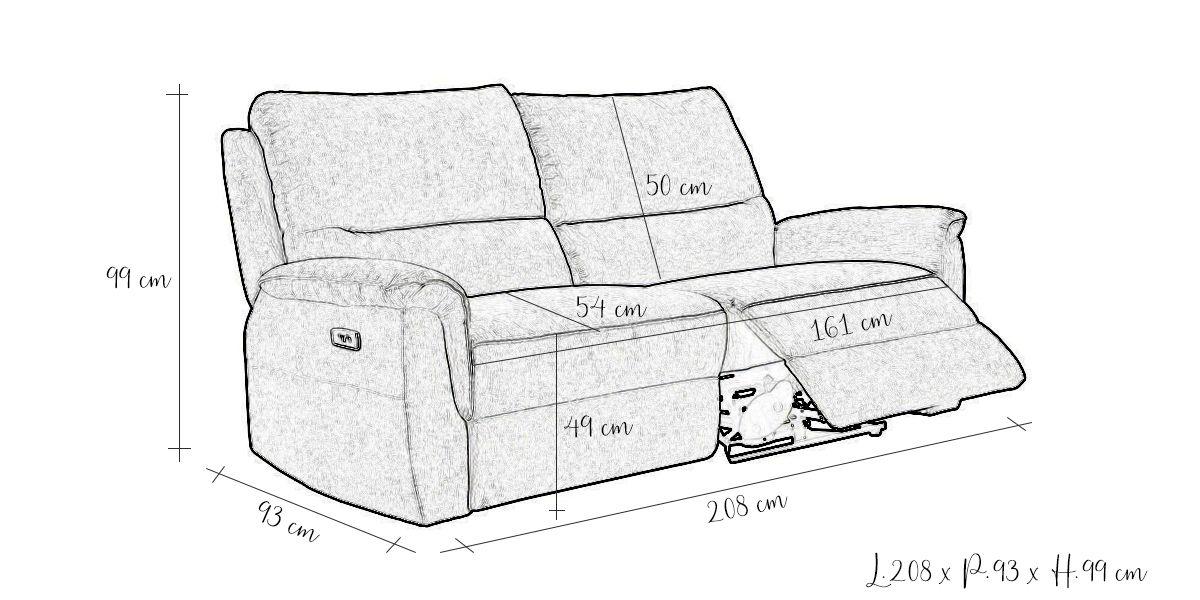 Canapé relaxation électrique 3 places en cuir COCOON - Taupe