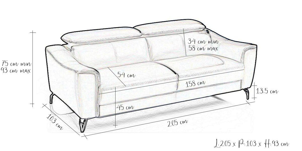 Canapé en cuir 3 places KRYS