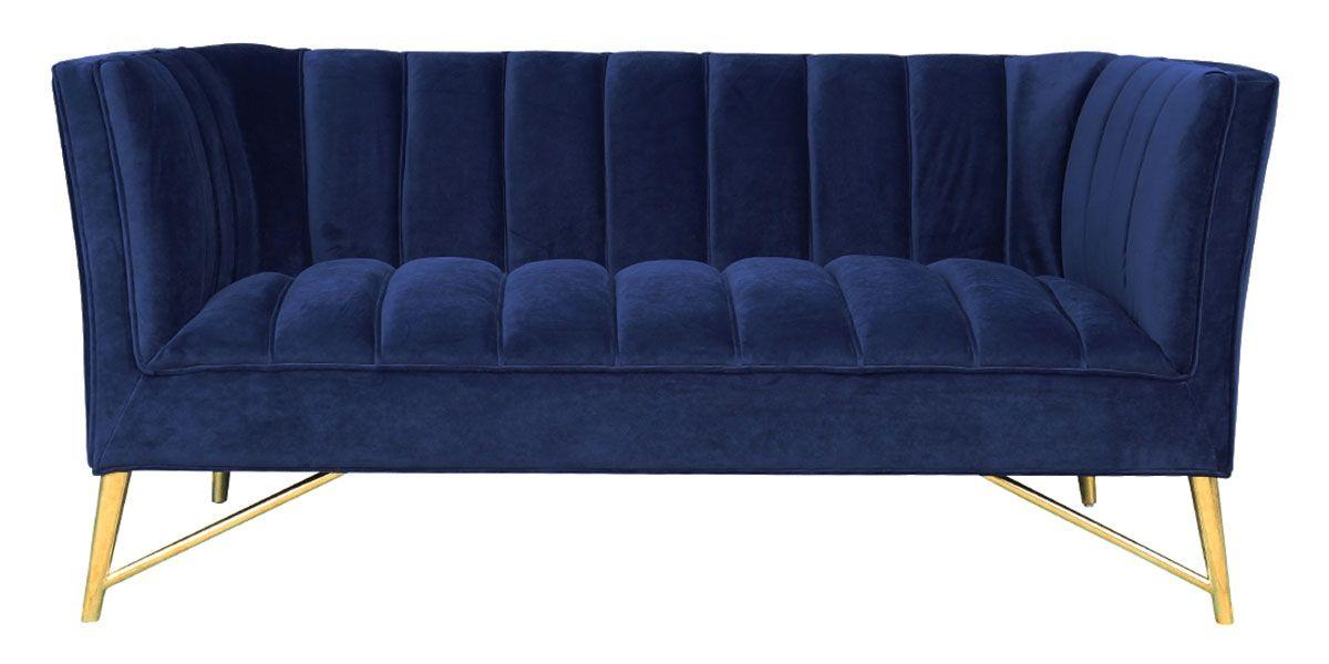 Canapé 2 places en velours ALAIA- Bleu foncé