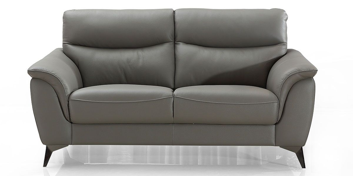 Canapé 2 places en cuir MADRID - Gris souris