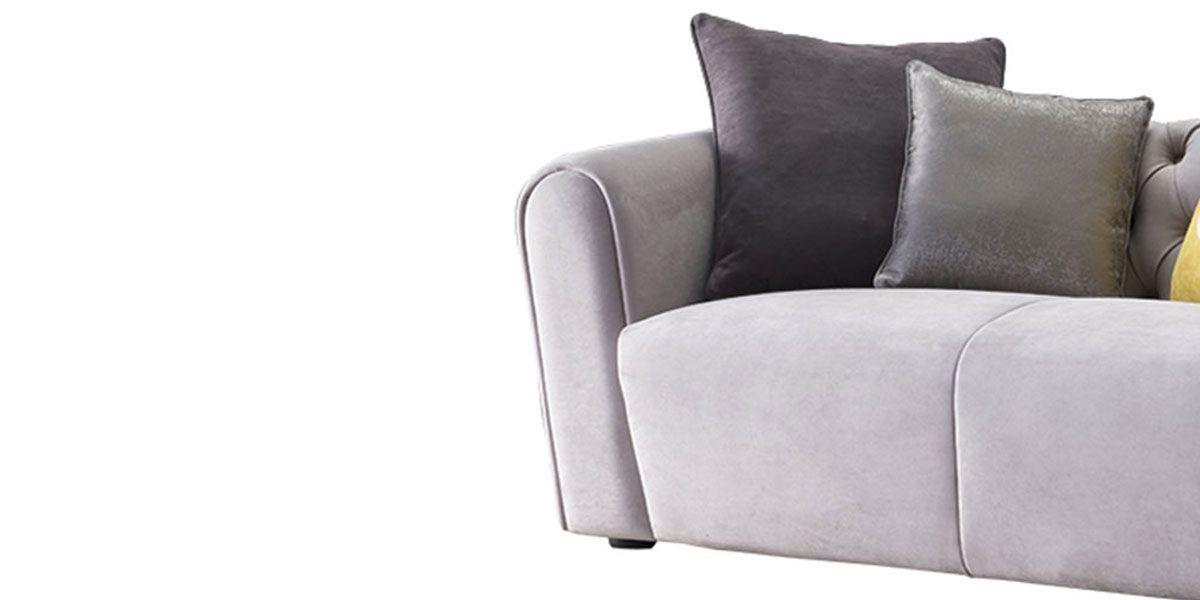 Canapé 2 places en velours JUICY - Gris clair