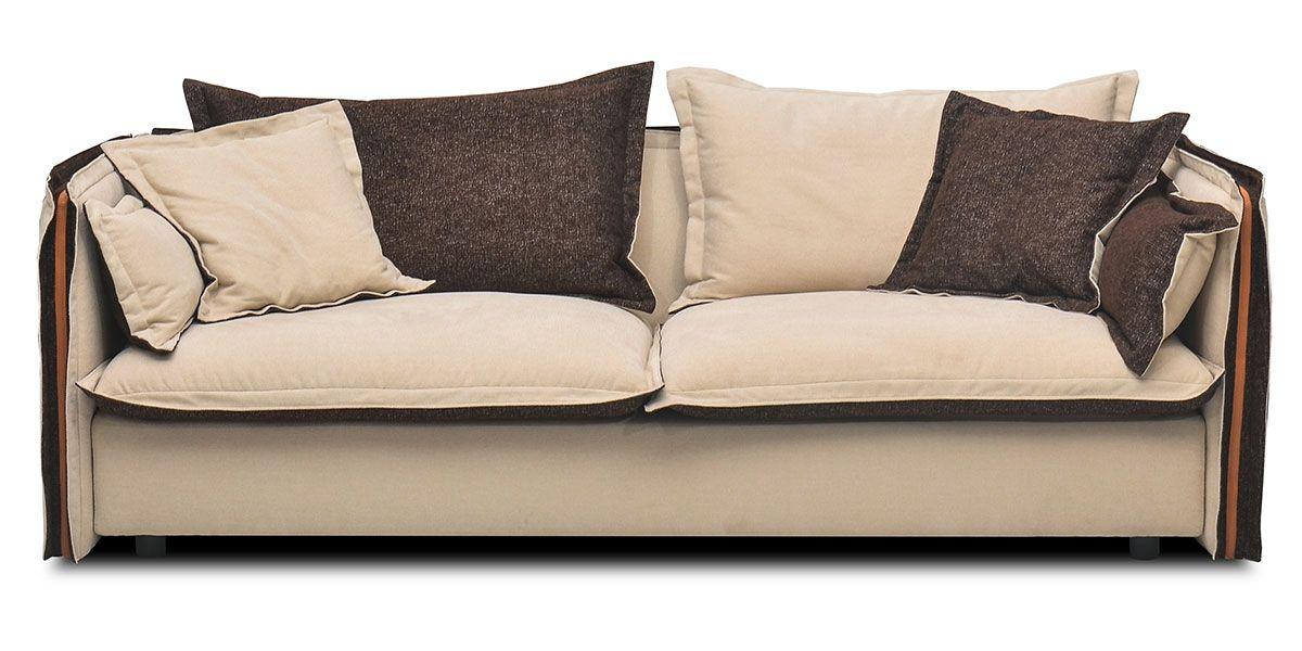 Canapé 2 places en tissu BURDY - Beige/Marron