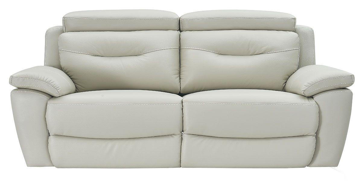Canapé relaxation électrique 3 places en cuir SERENA - Gris perle