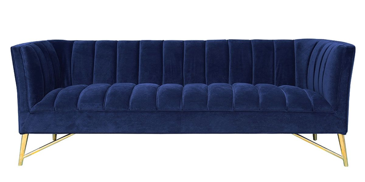 Canapé 3 places en velours ALAIA - Bleu foncé