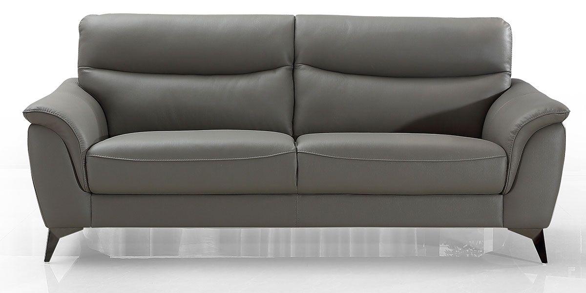 Canapé 3 places en cuir MADRID - Gris souris