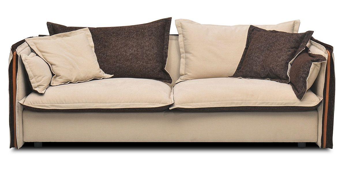 Canapé 3 places en tissu BURDY - Beige/Marron