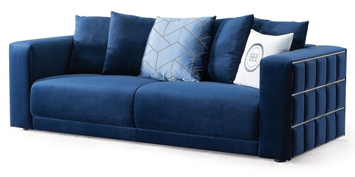 Canapé 3 places en velours KALIA - Bleu