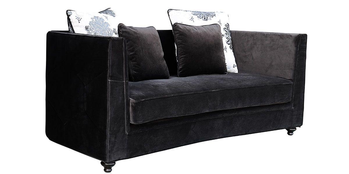 Canapé 3 places en velours KIKO - Noir