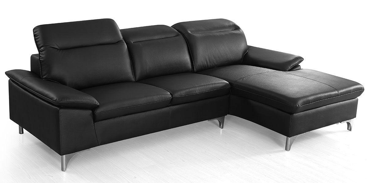 Canapé d'angle gauche en cuir ALIX