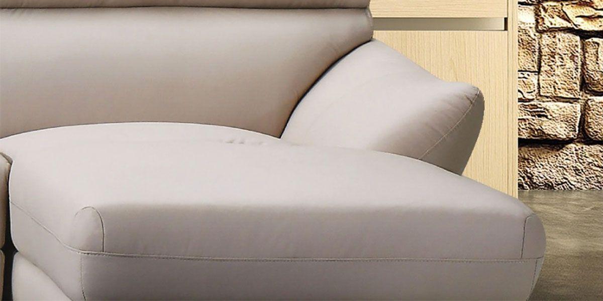 Canapé d'angle droit en cuir taupe IVY