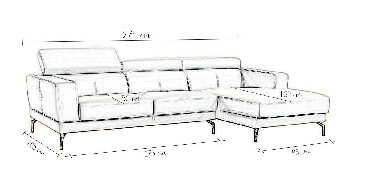 Canapé d'angle gauche blanc OSLO