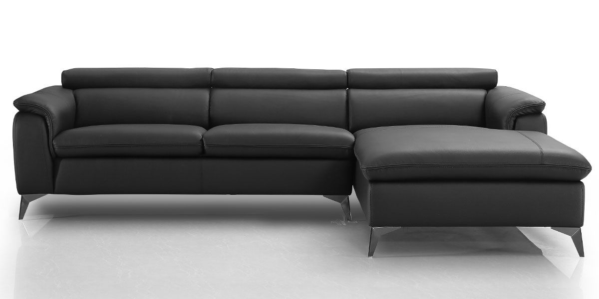 Canapé d'angle droit en cuir LOUNA - Noir