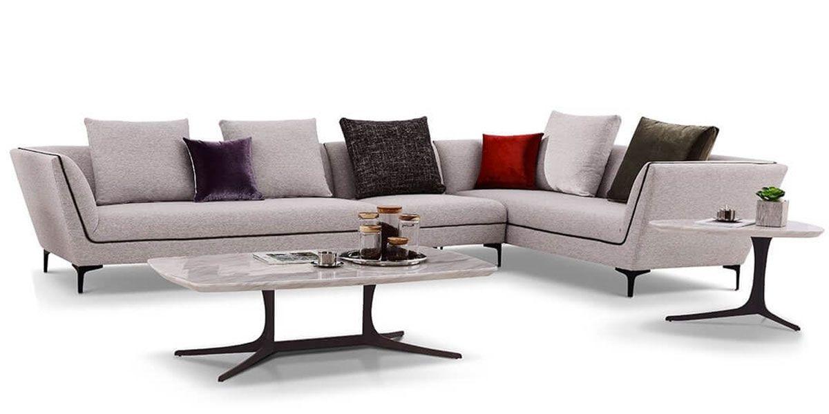 Canapé d'angle XL droit en tissu ROSSA - Gris chiné