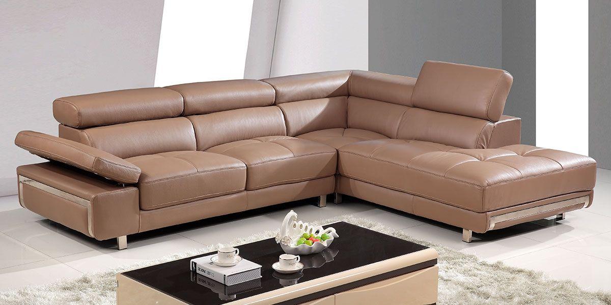 Canapé d'angle droit en cuir GIANNI - Marron noisette