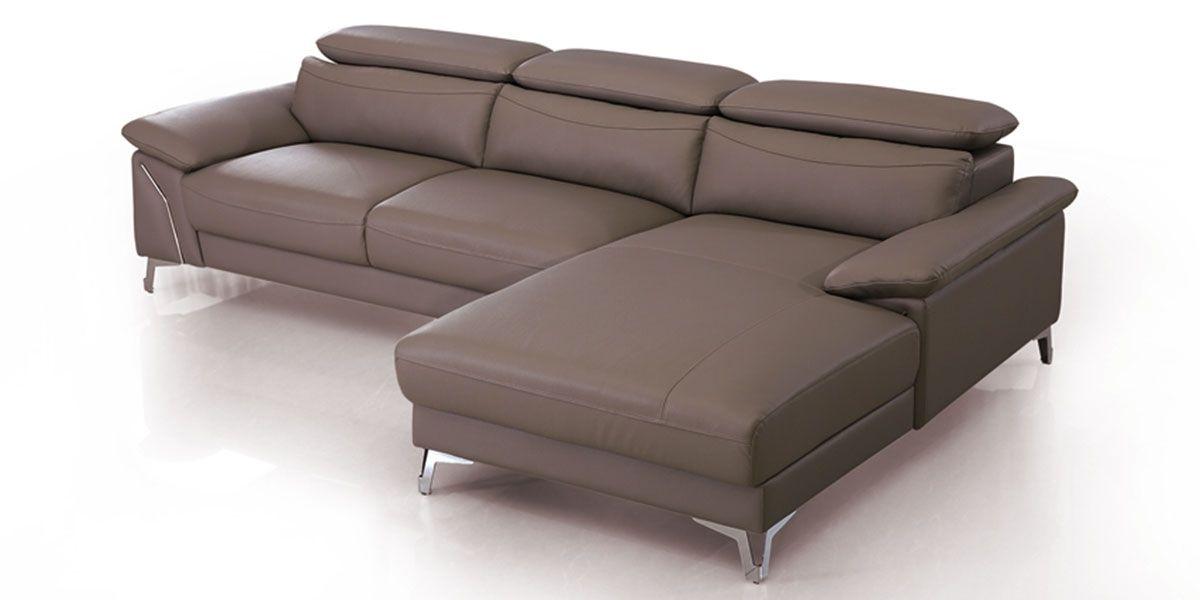 Canapé d'angle droit en cuir NOUMEA - Marron noisette