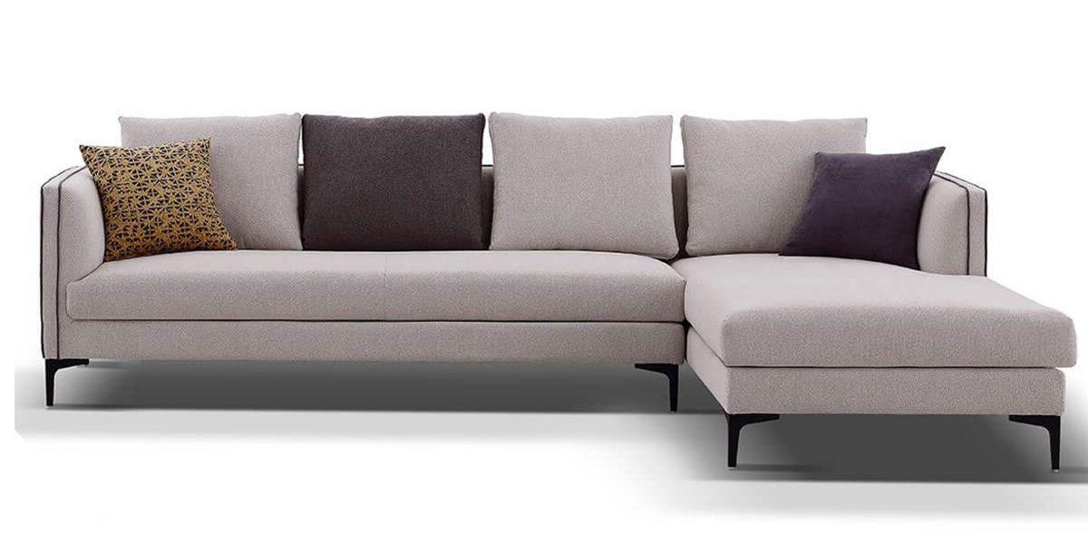 Canapé d'angle droit en tissu SAMARA - Beige