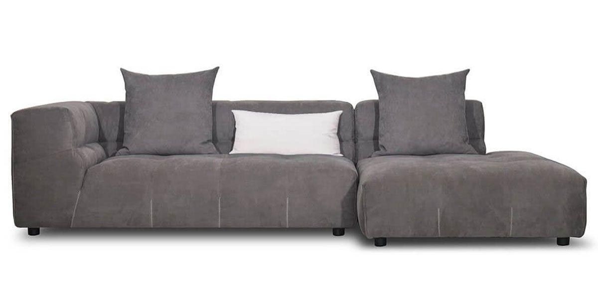 Canapé d'angle droit en tissu CLARTON - Gris souris