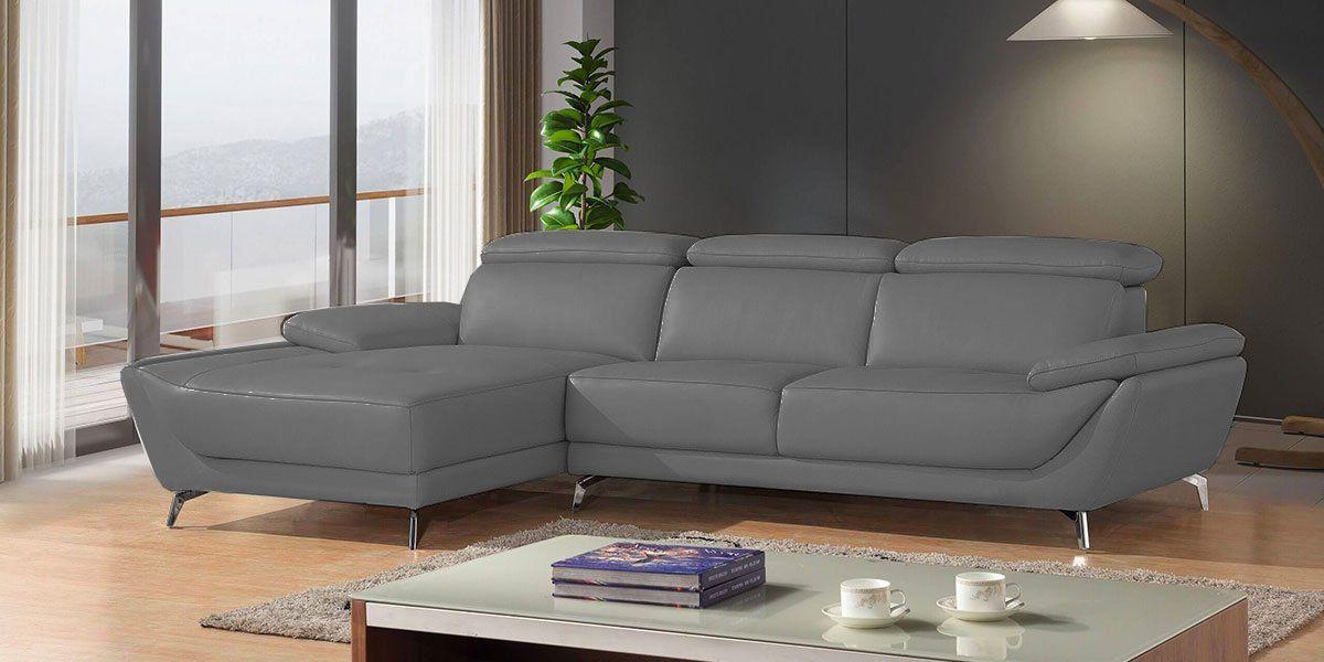 Canapé d'angle gauche en cuir gris CARLA