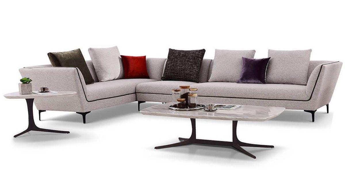 Canapé d'angle XL en tissu ROSSA