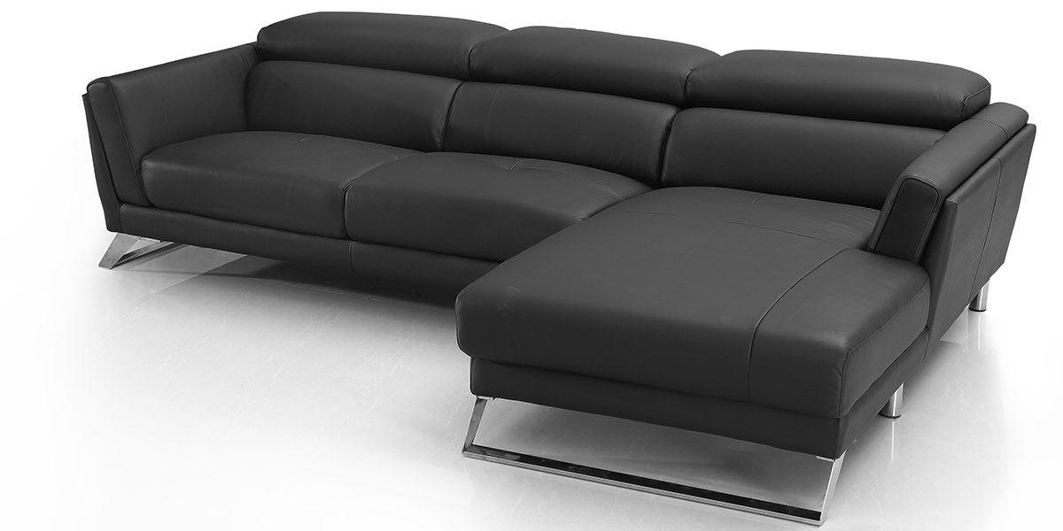 Canapé d'angle droit en cuir HILONA - Noir