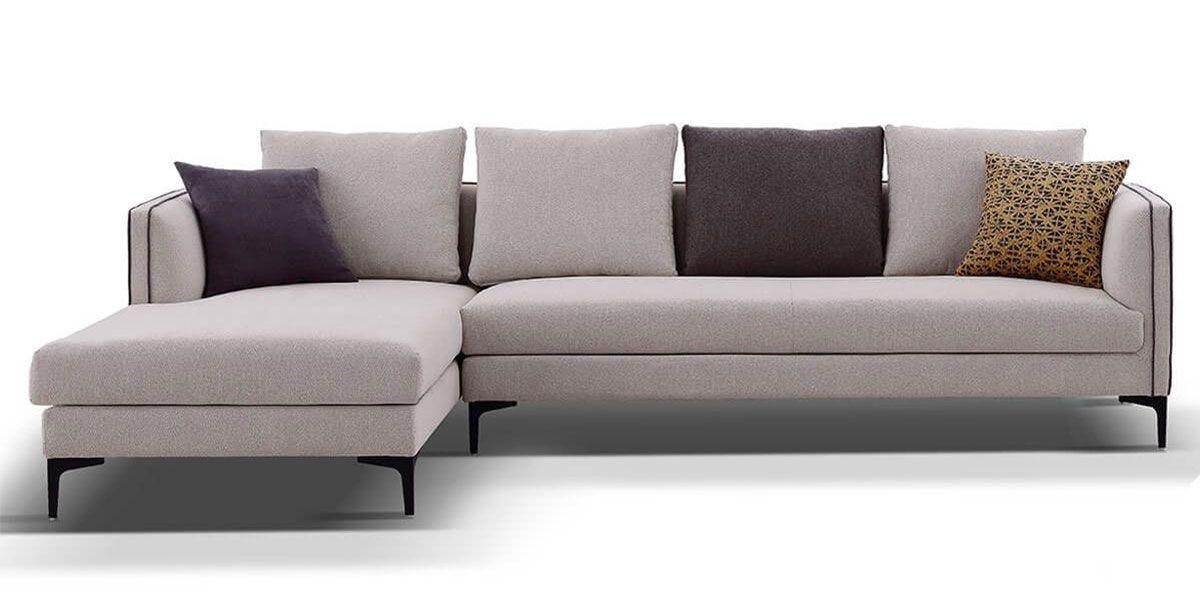 Canapé d'angle gauche en tissu SAMARA - Beige