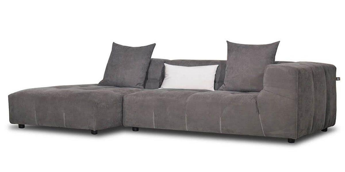 Canapé d'angle gauche en tissu CLARTON - Gris souris
