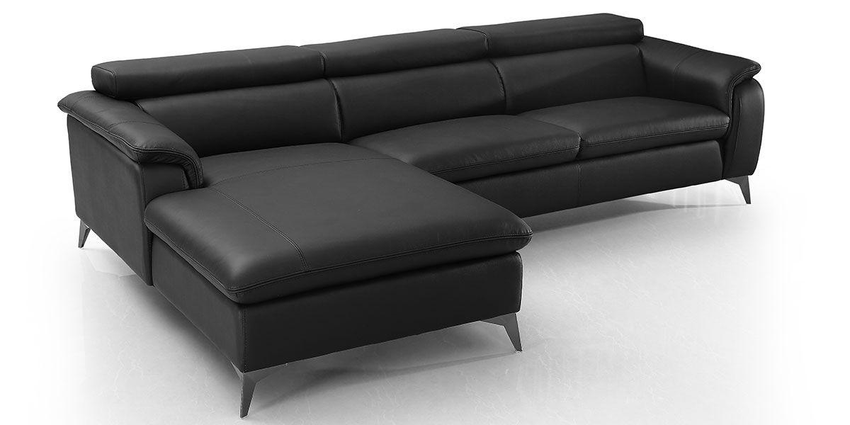 Canapé d'angle gauche en cuir LOUNA - Noir