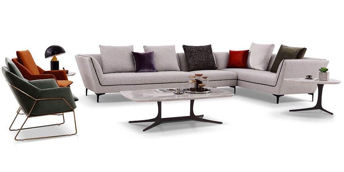 Canapé d'angle XL gauche en tissu ROSSA - Gris chiné