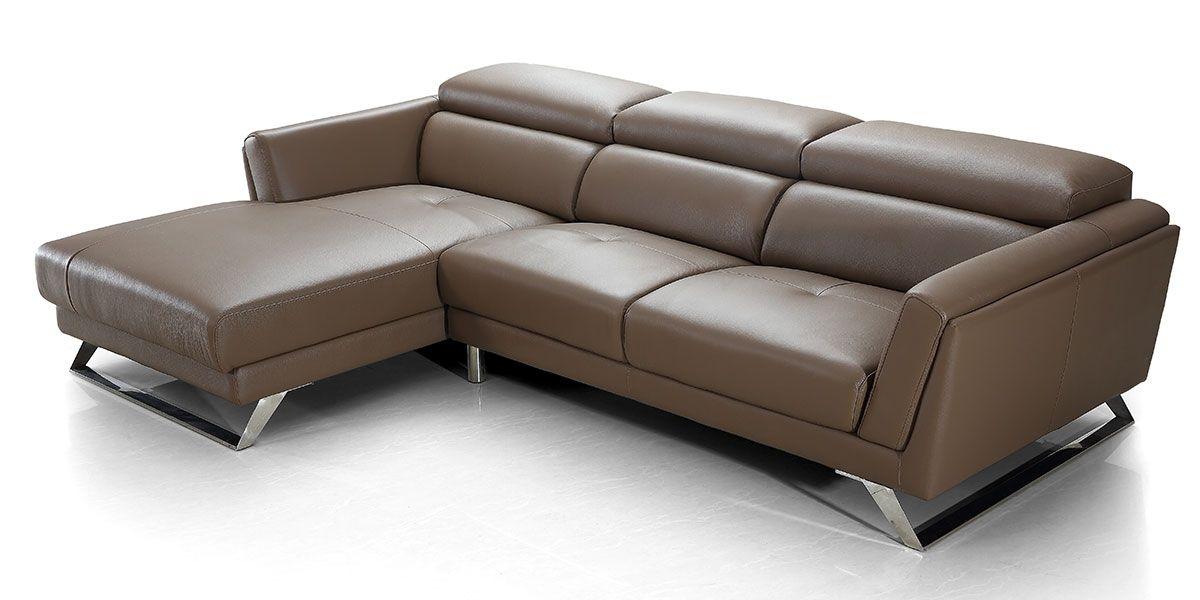 Canapé d'angle gauche en cuir HILONA - Marron