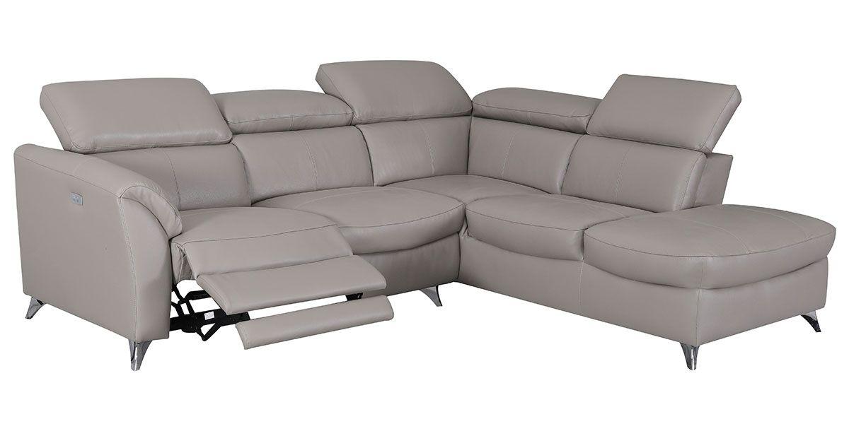 Canapé d'angle droit relax en cuir ASTON - Taupe