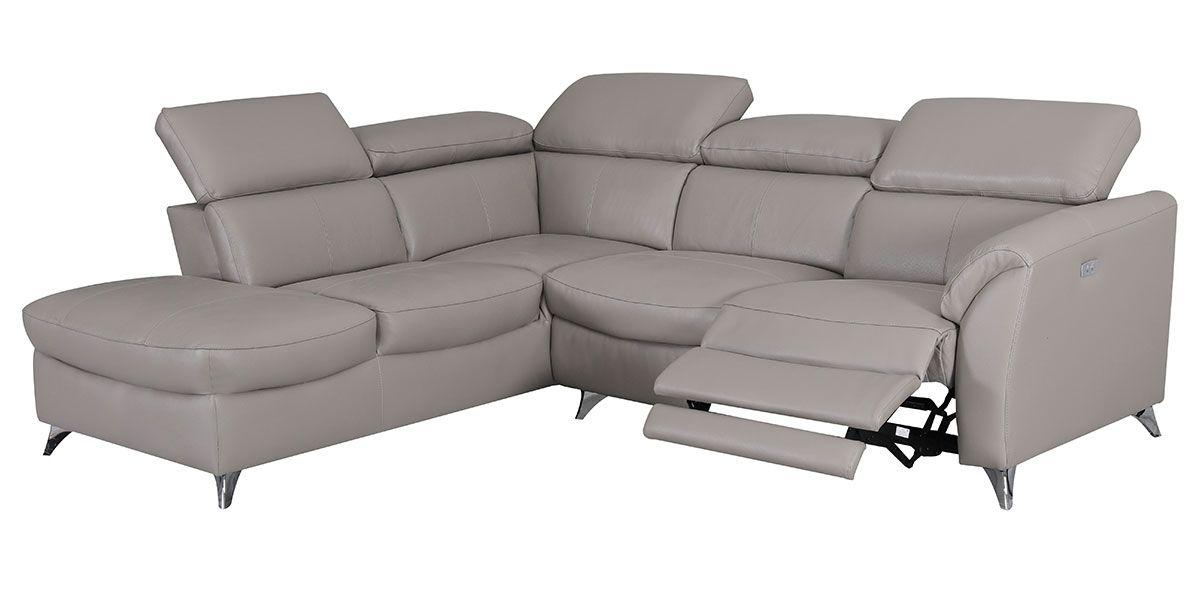 Canapé d'angle gauche relax en cuir ASTON - Taupe