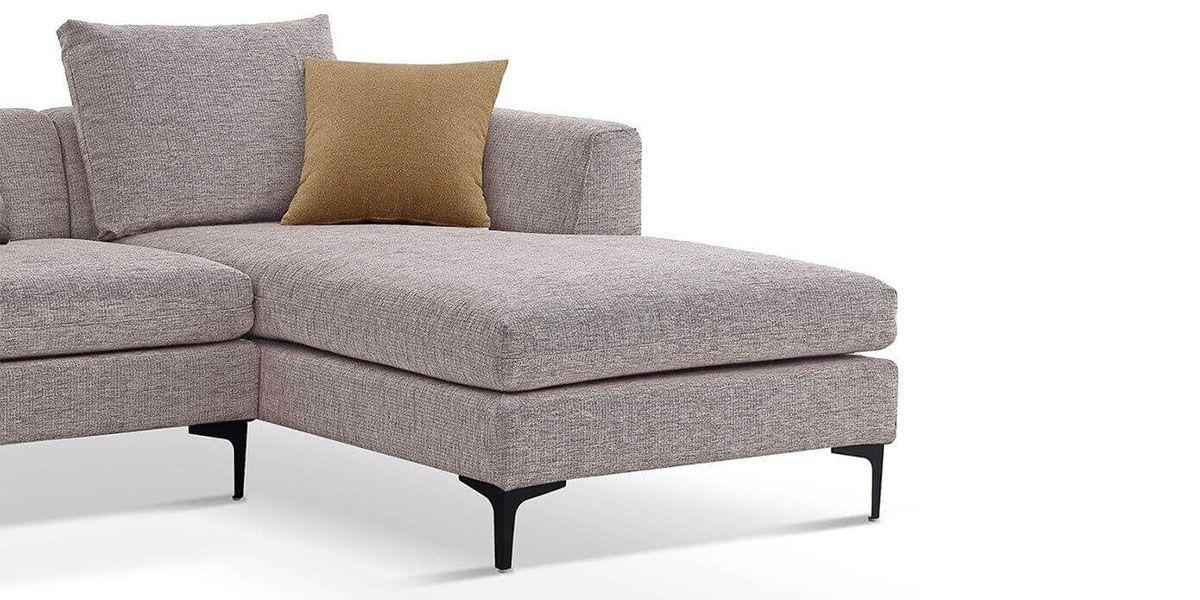 Canapé d'angle XL gauche en tissu JULY - Beige