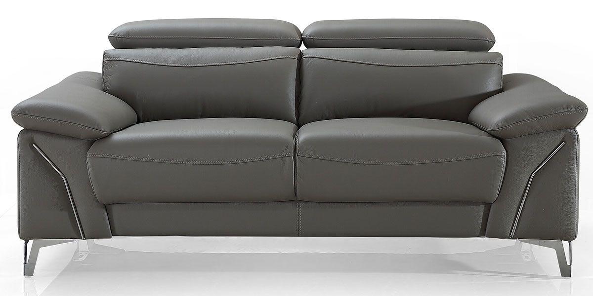Canapé 2 places en cuir MILAN - Gris