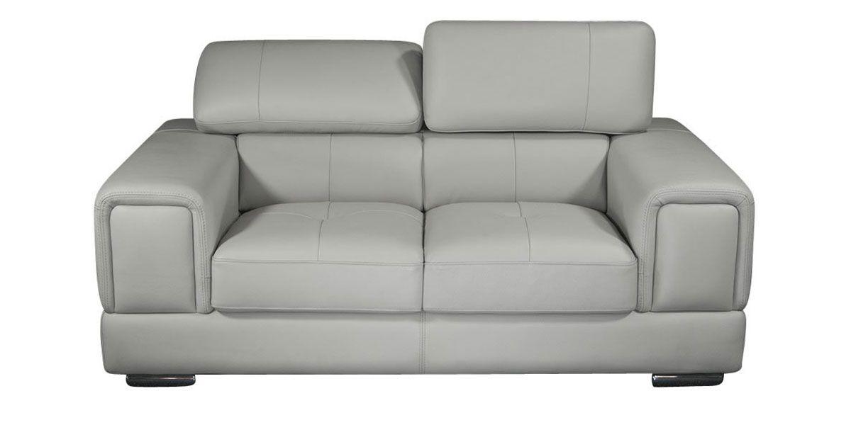 Canapé 2 places en cuir gris perle LIMA
