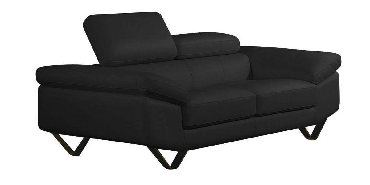 Canapé 2 places en cuir noir MAGNOLIA