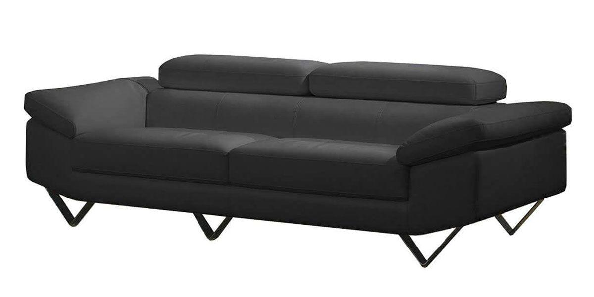Canapé 3 places en cuir noir MAGNOLIA