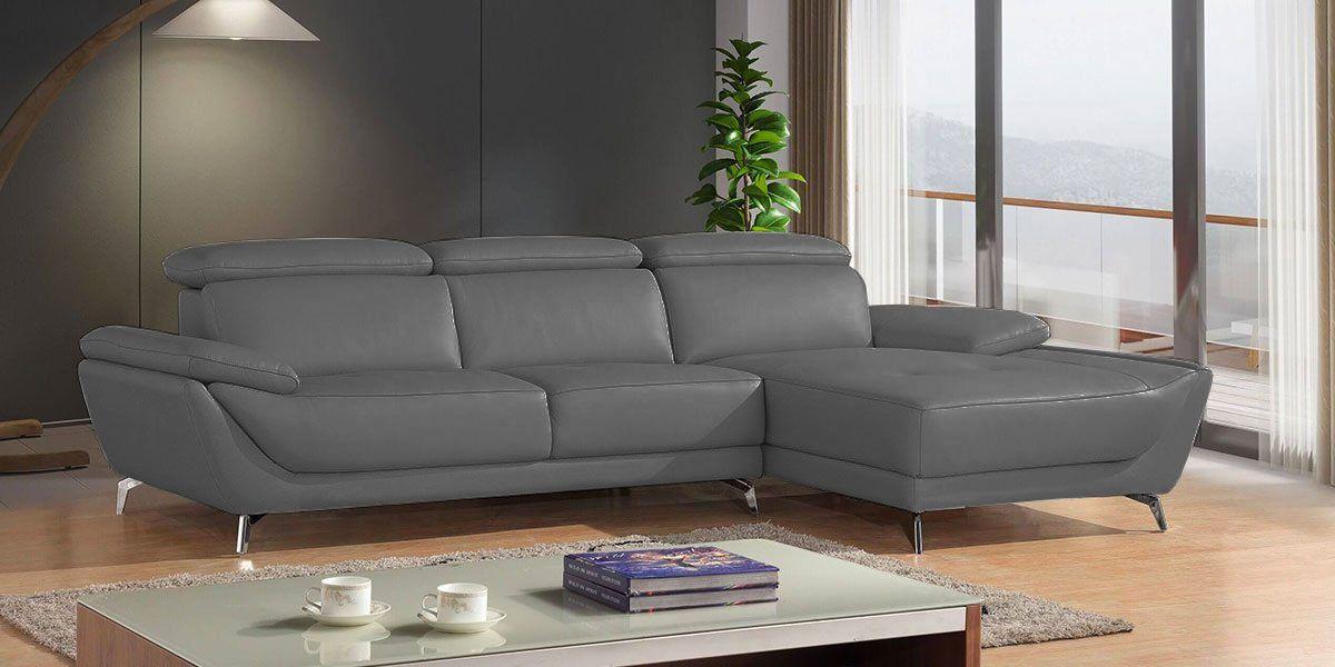 Canapé d'angle droit en cuir gris CARLA