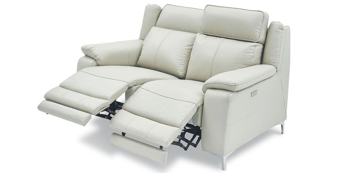 Canapé relaxation électrique 2 places en cuir KARA - Gris clair