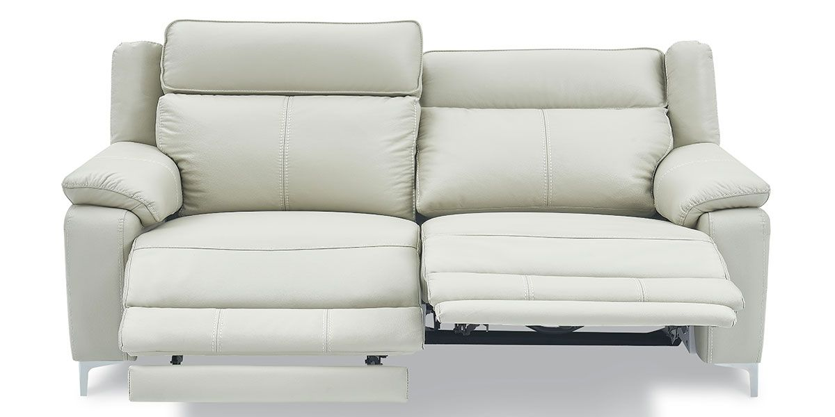 Canapé relaxation électrique 3 places en cuir KARA - Gris clair