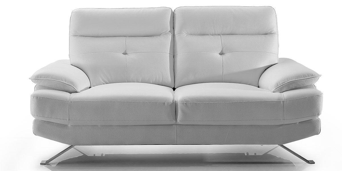 Canapé 2 places en cuir SYDNEY - Blanc écru