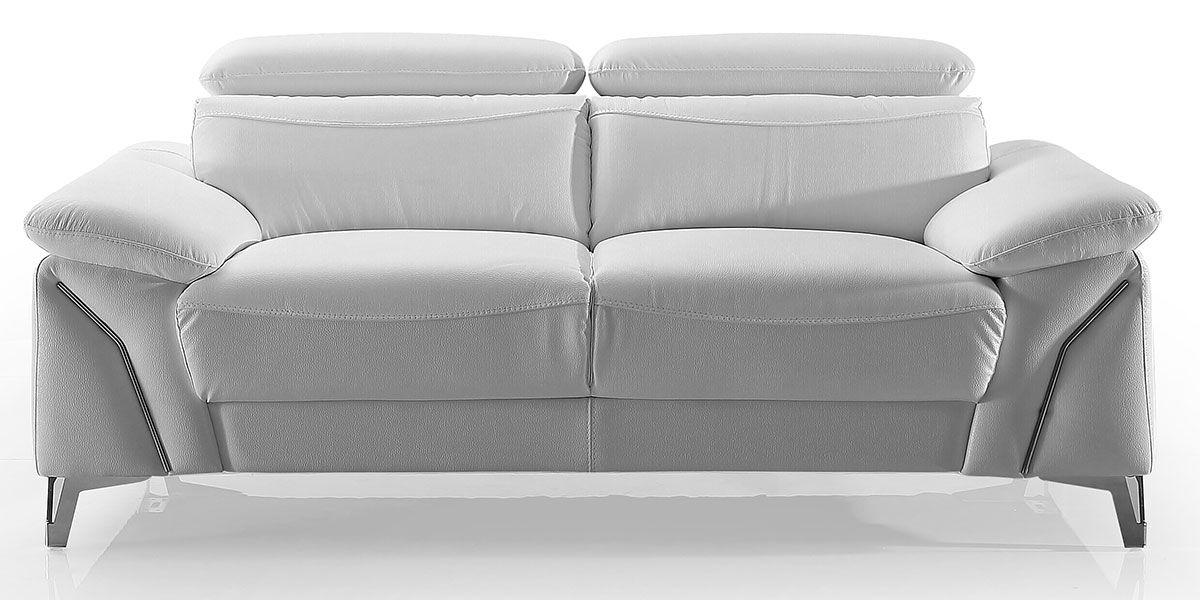 Canapé 2 places en cuir MILAN - Blanc neige