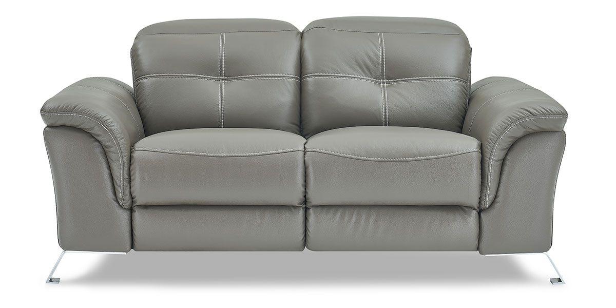 Canapé relaxation électrique 2 places en cuir DENY - Taupe