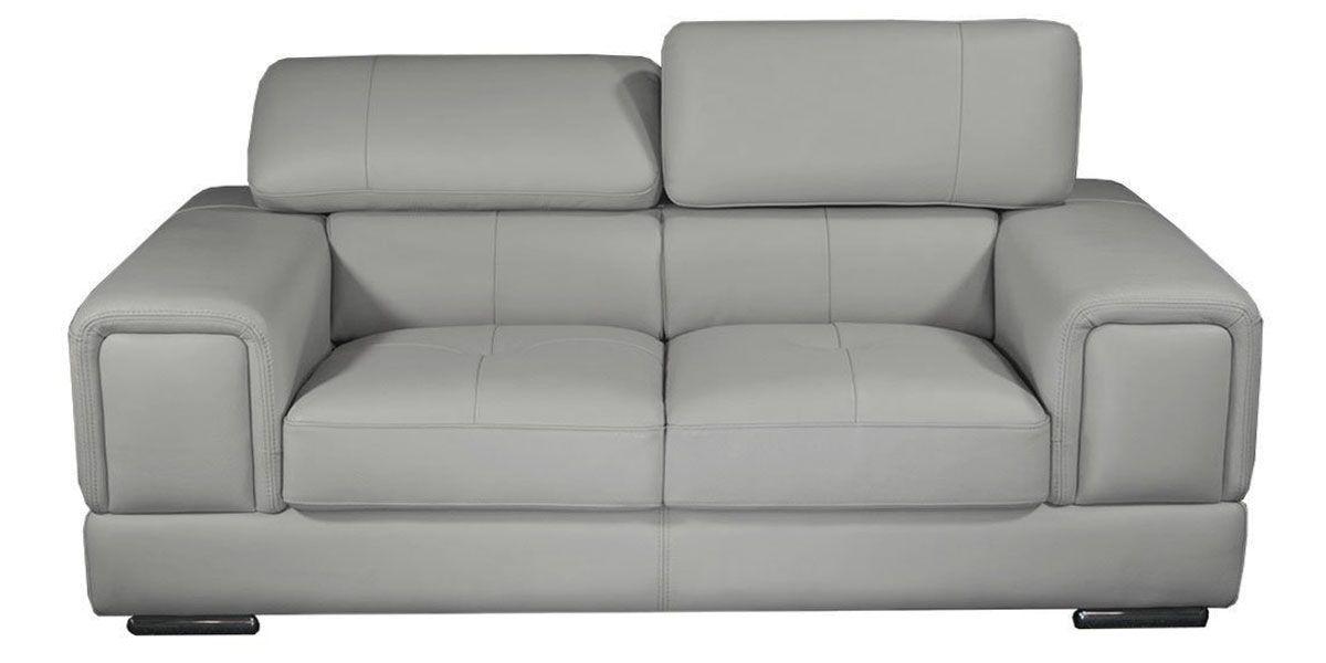 Canapé 3 places en cuir gris perle LIMA