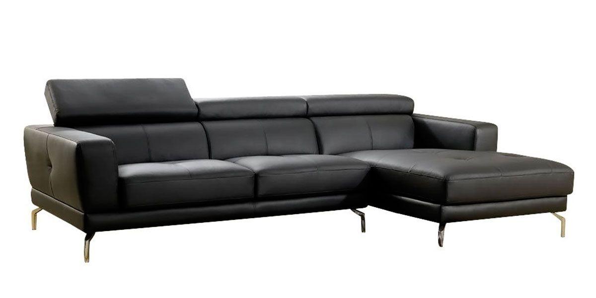 Canapé d'angle droit noir OSLO