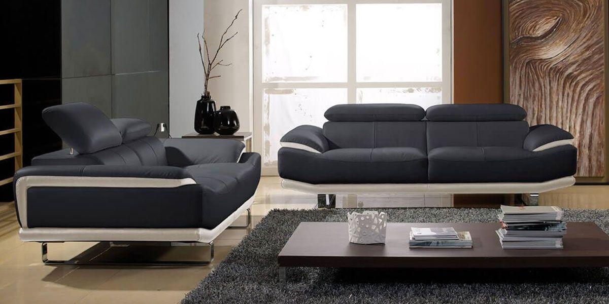 Canapé 2 places en cuir noir et beige OSMOZ
