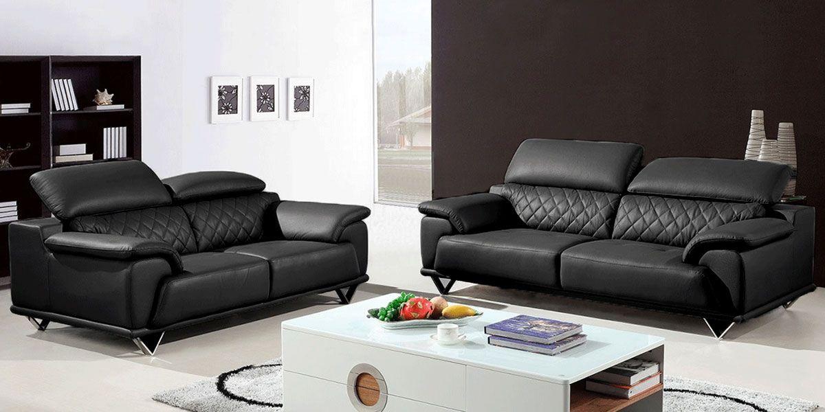 Canapé 3 places en cuir GARCIA - Noir